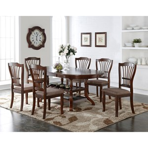 7 Piece Dining Table Set with Wine Bottle Storage
