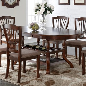 Rounded Dining Table with Wine Bottle Storage