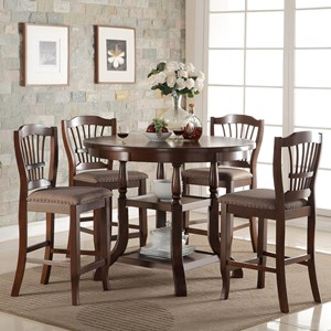 5 Piece Round Counter Table Set with Storage Shelves