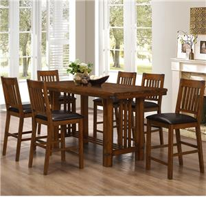 Counter Table with Trestle Base and Chair Set with 6 Chairs