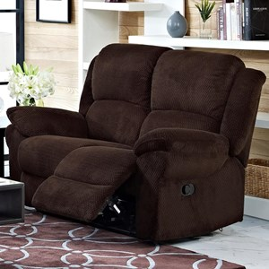 Casual Power Reclining Loveseat with Full Chaise Cushions