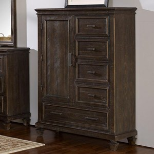 Transitional 1 Door and 5 Drawer Chest with Cedar Lined Bottom Drawer