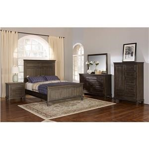 Queen Panel Bed, Dresser, Mirror & Nightstand