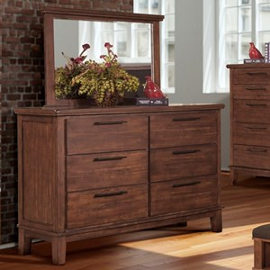 Transitional 6 Drawer Dresser with Felt Lined Drawers and Mirror
