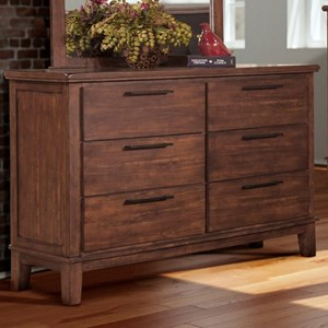 Transitional 6 Drawer Dresser with Felt Lined Top Drawers