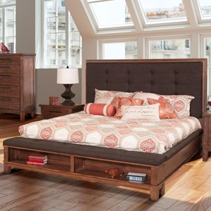 Transitional Upholstered Queen Platform Bed with Footboard Storage