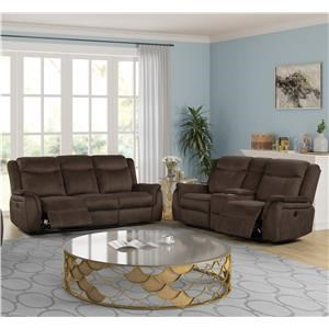 Reclining Sofa & Loveseat with Console Living Room Group