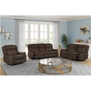 Reclining Sofa, Loveseat with Console, and Glider Recliner Set