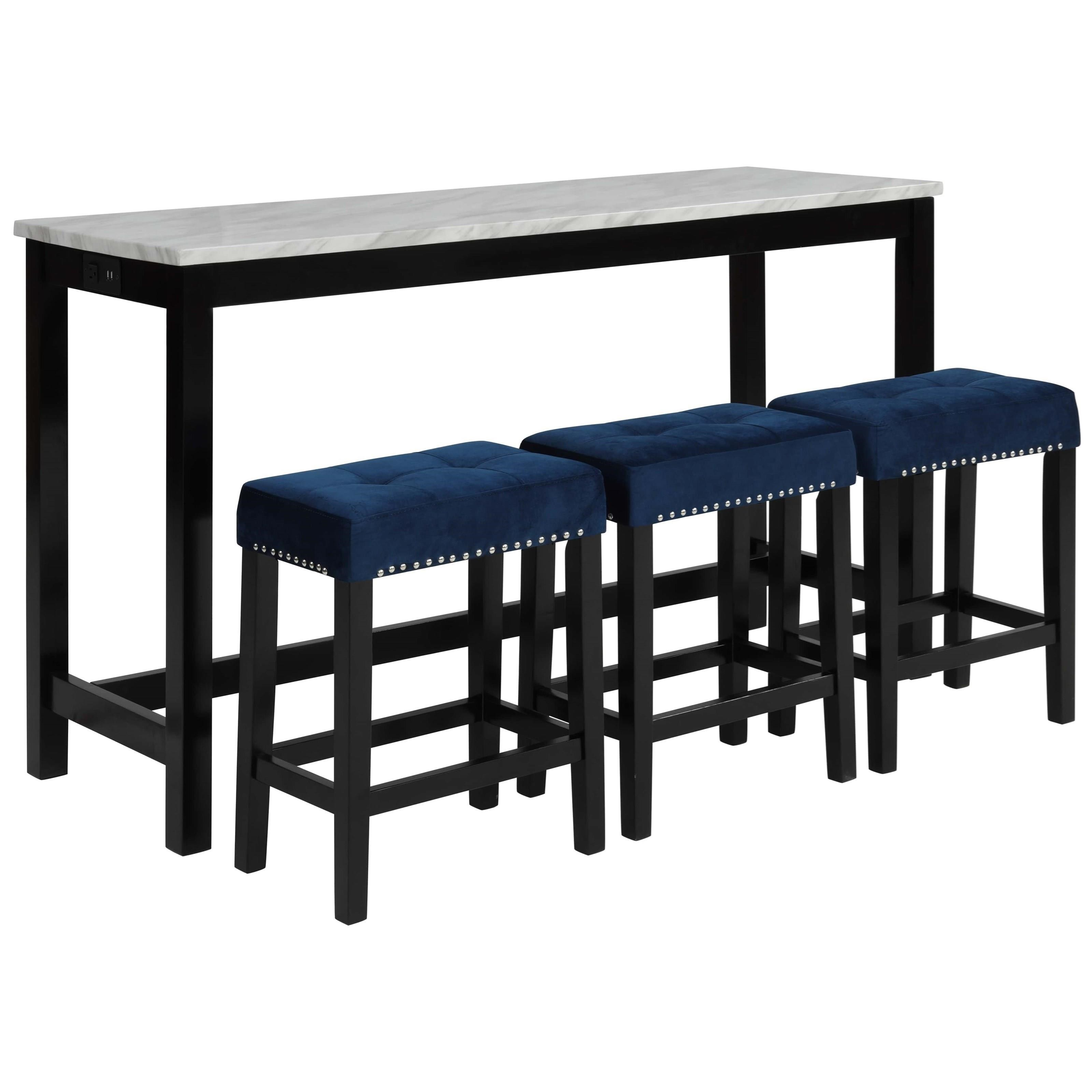 Celeste Theater Bar Table W/ 3 Stools by New Classic at Beds N Stuff