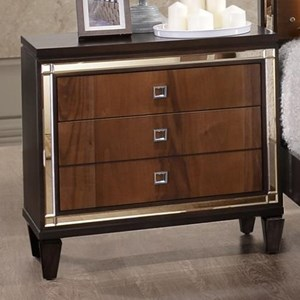Three Drawer Nightstand with Square Glass Knobs