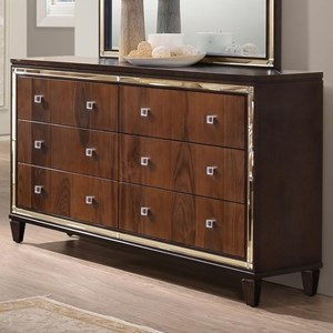 Six Drawer Dresser with Mirrored Accents