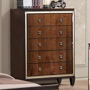 Five Drawer Chest with Square Glass Knobs