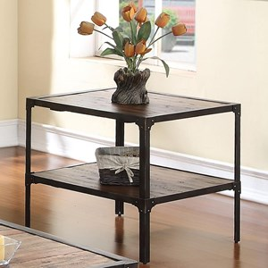End Table with Plank-Style Top and Rustic Finish