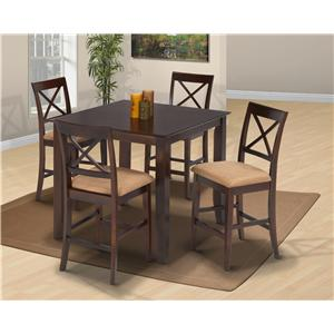 Five-Piece Square Top Table and Upholstered Chair Counter Dining Set