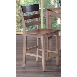 Rustic Counter Height Chair with Ladder Back