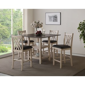 Casual 5 Piece Counter Height Dining Set with Center Storage