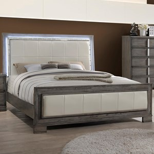 California King Upholstered Bed with LED Lighting