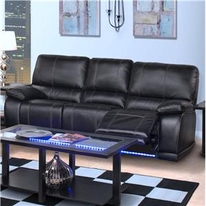 Contemporary Dual Recliner Sofa with Base Lighting