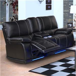Contemporary Power Motion Console Loveseat with Cup Holders and Storage