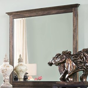 Dresser Mirror with Beveled Glass and Wood Frame