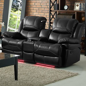 Contemporary Reclining Power Loveseat with Lighted Cupholders