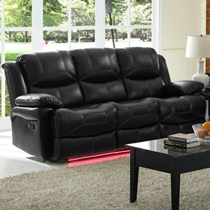 Contemporary Reclining Power Sofa with Pillow Arms