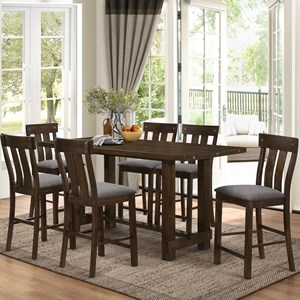 7 Piece Trestle Counter Table with Linen-like Upholstered Counter Chairs