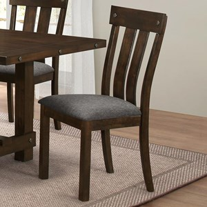 Slat Back Dining Side Chair with Linen-like Seat Cushion