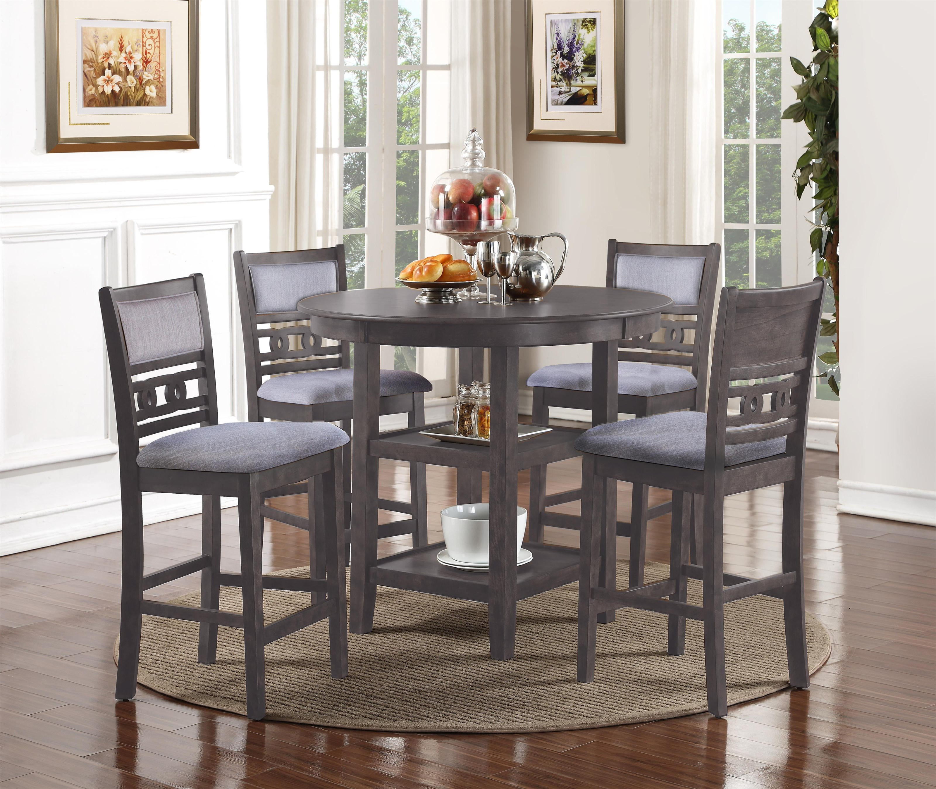Gia Gray Counter Height Dining Table and Chair Set by New Classic at Sam Levitz Outlet