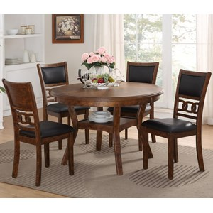 Dining Table and Chair Set with 4 Chairs and Circle Motif
