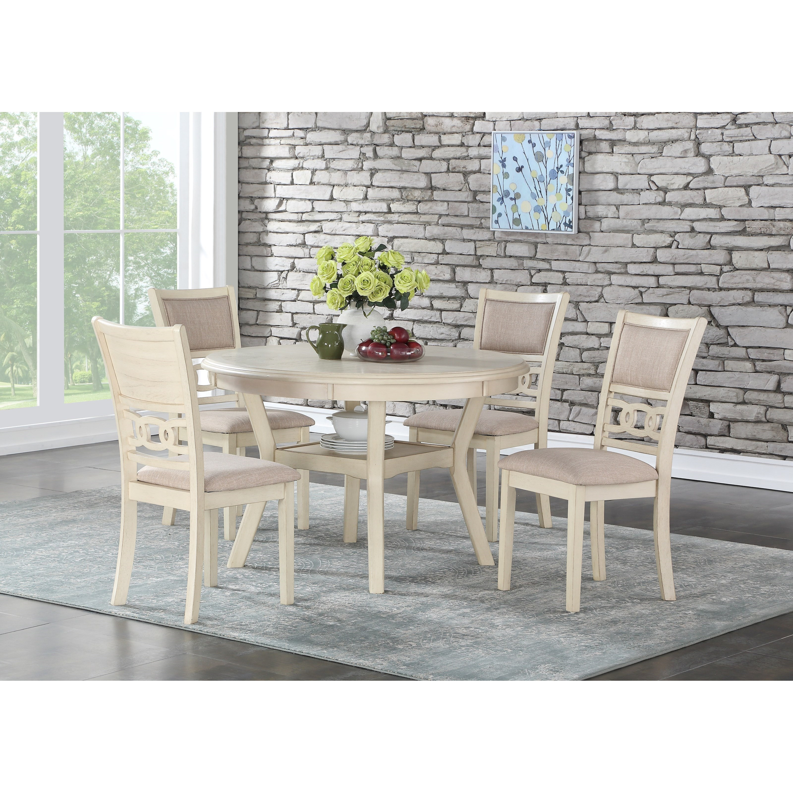 Gia Dining Table and Chair Set with 4 Chairs by New Classic at Beds N Stuff