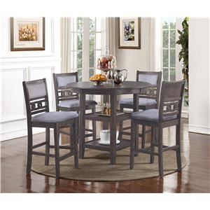 Gray Counter Table & 4 Stools