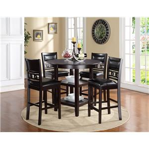 Counter Height Dining Table and Chair Set with 4 Chairs and Circle Motif