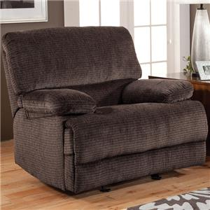 Casual Reclining Glider Recliner with Pillow Top Arms