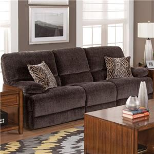 Casual Dual Power Reclining Sofa with Hidden Storage Compartments