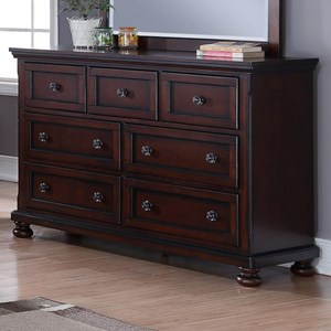 Seven Drawer Dresser with Felt Lined Top Drawers