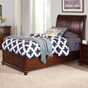Twin Low Profile Storage Bed with Sleigh Style Panel Headboard