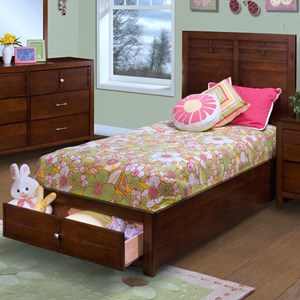 Twin Low-Profile Bed with Storage Footboard