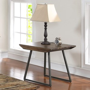 End Table with Angular Iron Legs