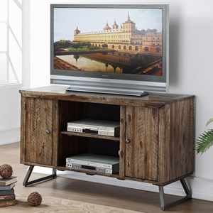 Entertainment Console with Plank Style Wood Top and Doors