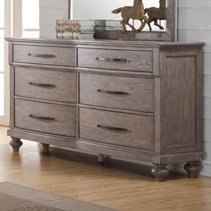 Six Drawer Dresser with Bar Pull Hardware