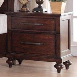 Two Drawer Nightstand with Turned Feet