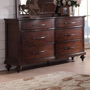 Six Drawer Dresser with Bar Pull Hardware