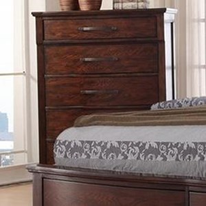 Five Drawer Chest with Turned Feet