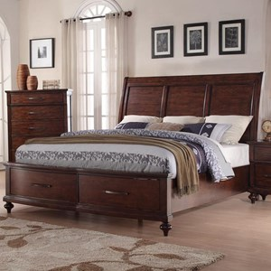 King Storage Bed with Panel Headboard