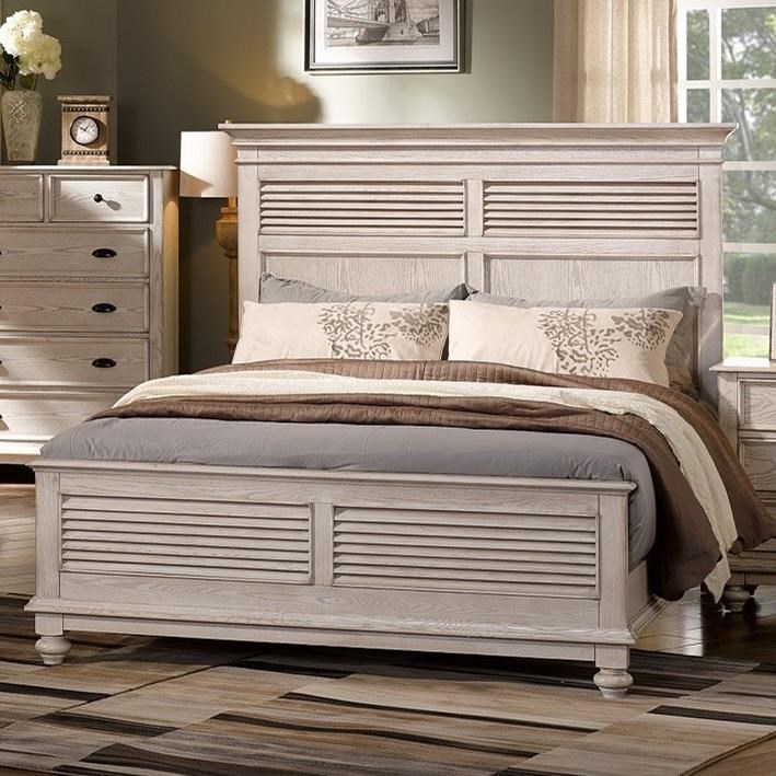 Lakeport White Driftwood King Headboard and Footboard Bed by New Classic at H.L. Stephens