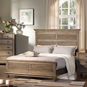 California King Headboard and Footboard Bed with Shutter Panels