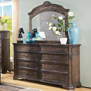 Eight Drawer Dresser and Arched Mirror with Carved Detailing