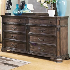 Eight Drawer Dresser with Carved Detailing