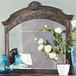 Arched Wood Frame Mirror with Beveled Glass